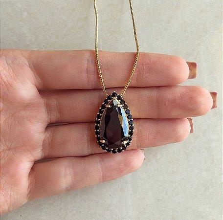 Corrente Gota Luxury Cristal Negro e Cravação Zircônias Negra Dourado