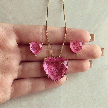 Conjunto Coração Pedra Fusion Safira Rosa Dourado