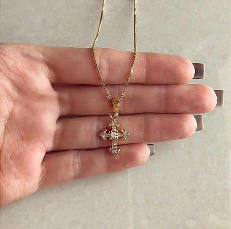 Corrente Cruz Cravação Zircônias Diamond Dourado