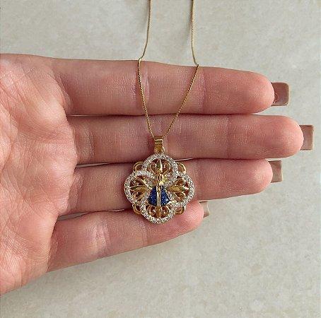 Corrente Mandala Micro Mil Zircônias Diamond com Nossa Senhora Cravada de Zircônias Azul Dourado