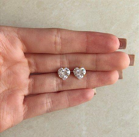 Brinco Coração Maxi Zircônia Diamond Dourado