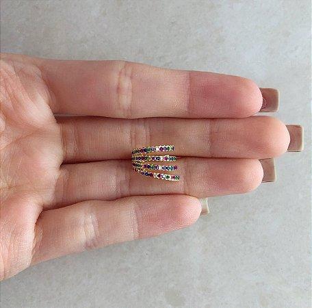 Piercing de Pressão Mil Micro Zircônias Colorida Dourado