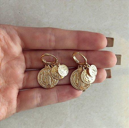 Argolinha Tripla (3 Tamanhos) Medalha de São Bento Dourado