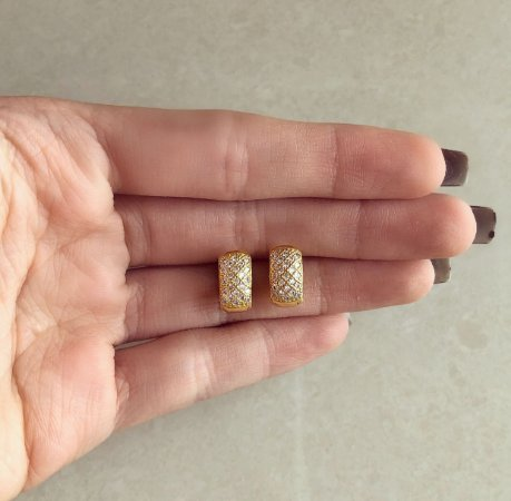 Argolinha Pequena Luxury Cravação Micro Zircônias Diamond Dourado