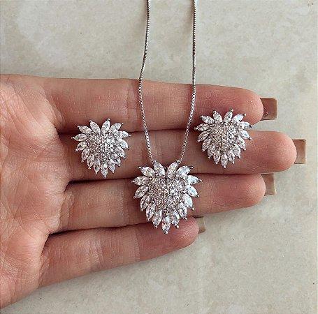 Conjunto Love Luxury Cravação Mil Zircônias Diamond Ródio Branco