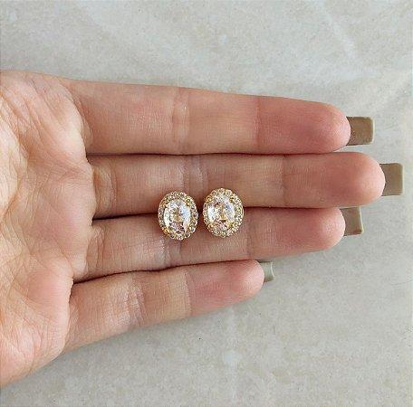 Brinco Luxury Pedra Fusion Branca com Cravação de Zircônias Diamond Dourado