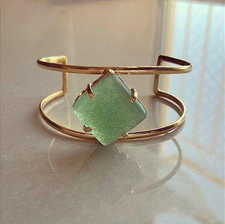 Bracelete Pedra Natural Verde Água Dourado