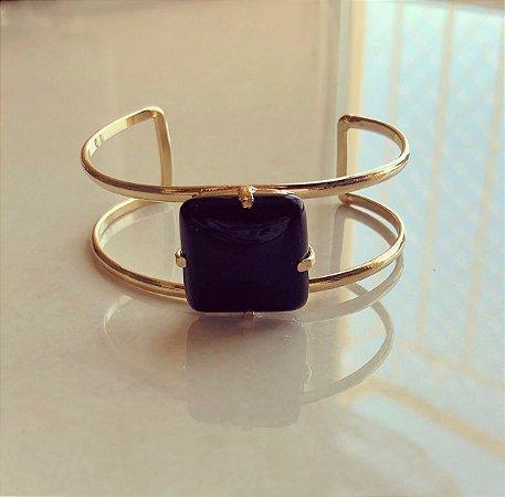 Bracelete Pedra Natural Ônix Dourado