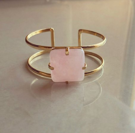 Bracelete Pedra Natural Quartzo Rosa Dourado