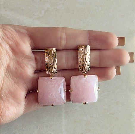 Brinco Princesa Pedra Natural de Quartzo Rosa Dourado