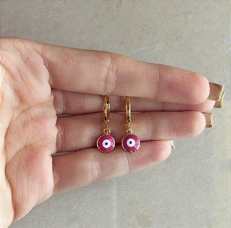 Argolinha Olho Grego Esmaltado Pink Dourado
