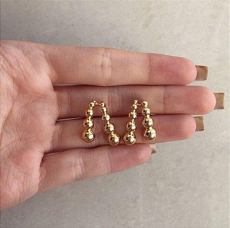 Brinco Ear Hook Duplo Bolinhas Dourado