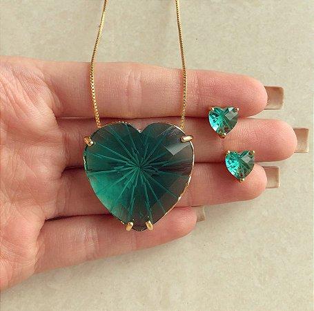 Conjunto Maxi Coração Pedra Raiada Verde Turmalina Dourado