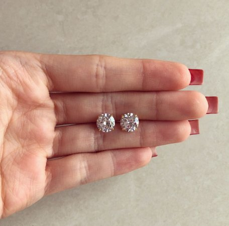 Brinco Bolinha Maxi Zircônia Diamond Dourado
