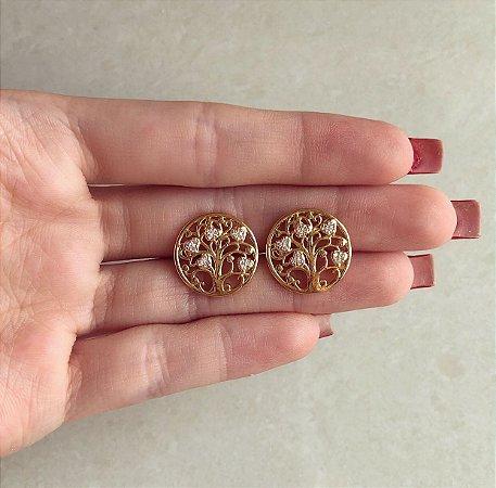 Brinco Árvore da Vida com Zircônias Diamond Dourado