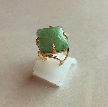 Anel (AJUSTÁVEL) Pedra Natural Verde Água Dourado