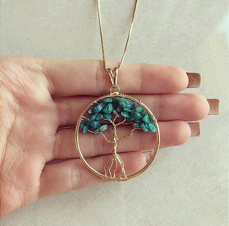 Colar Mandala Árvore da Vida Com Pedras Naturais Verde Esmeralda Dourado
