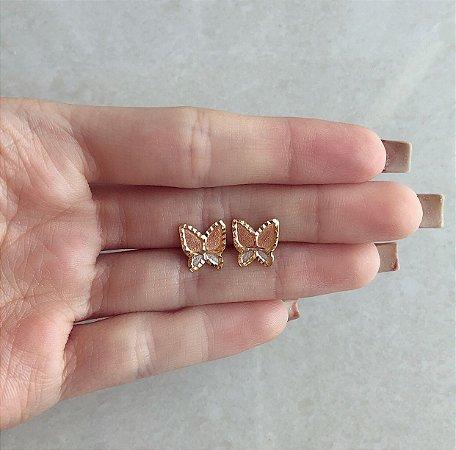 Brinco Borboleta Trabalhado no Ouro Rosé, Ródio Branco e Ouro 18k