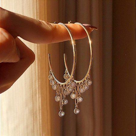 Argola Correntes com Zircônias Diamond Dourado