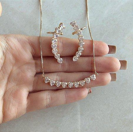 Conjunto Mil Corações com Mil Zircônias Diamond Cravejado no Dourado