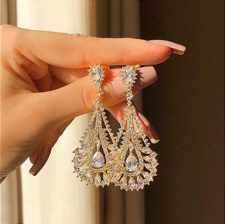 Brinco Luxo Turquia Cravação Mil Zircônias Diamond Dourado