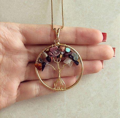 Colar Mandala Árvore da Vida Com Pedras Naturais Mistas Dourado