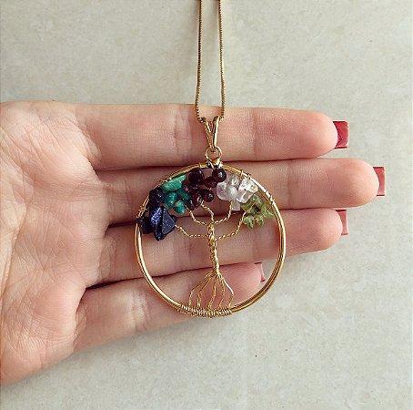 Colar Mandala Árvore da Vida Com Pedras Naturais Verde Água, Esmeralda, Diamond, Azul Brilhante e Marrom no Dourado