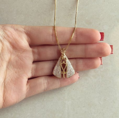Corrente Luxuosa Nossa Senhora Média Dupla Cravação Mil Zircônias Diamond e Azul Marinho No Dourado