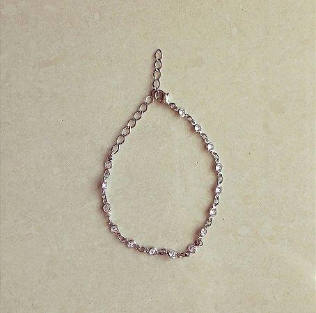 Pulseira Pontos de Zircônia Diamond Ródio Branco