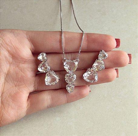 Conjunto Corações Zircônias Diamond Ródio Branco