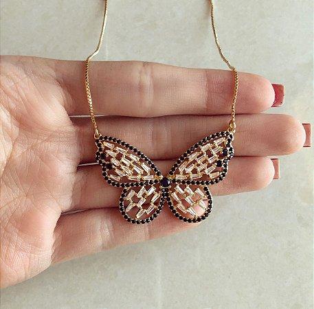 Corrente Luxo Borboleta Navetes de Zircônias Diamond e Negra Dourado