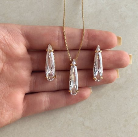 Conjunto Gota Luxo Cristal Diamond Dourado