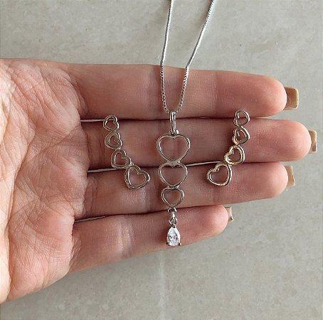 Conjunto Corações Vazado com Gota de Zircônia Diamond Ródio Branco