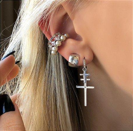 Piercing de Pressão Cravação Zircônias Diamond e Pérolas Ródio Branco