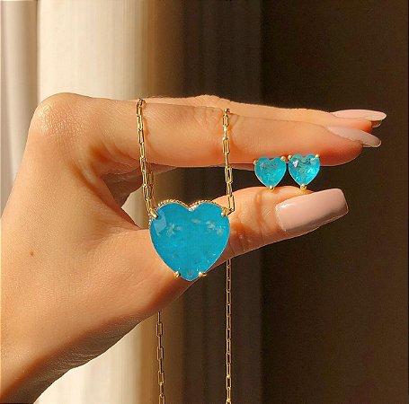 Conjunto Elos Coração Pedra Fusion Azul Turquesa Dourado