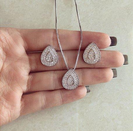 Conjunto Gota Micro Zircônias Diamond Ródio Branco