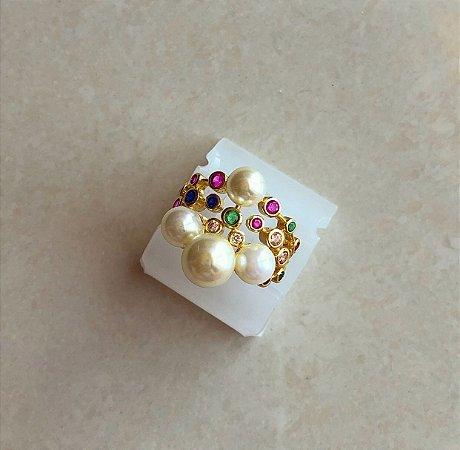Anel Pérolas com Zircônias Colorida (Rosa, Verde, Azul, Diamond e Morganita) Dourado