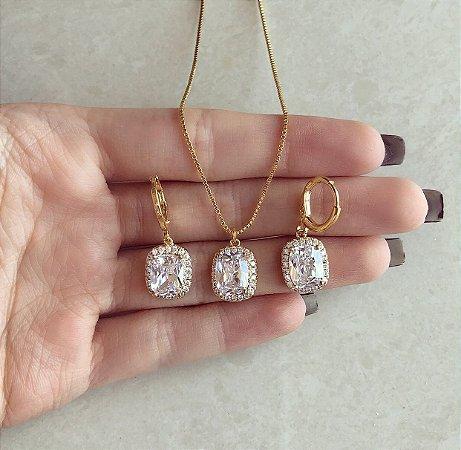 Conjunto Quadradinho Mil Zircônias Diamond Dourado