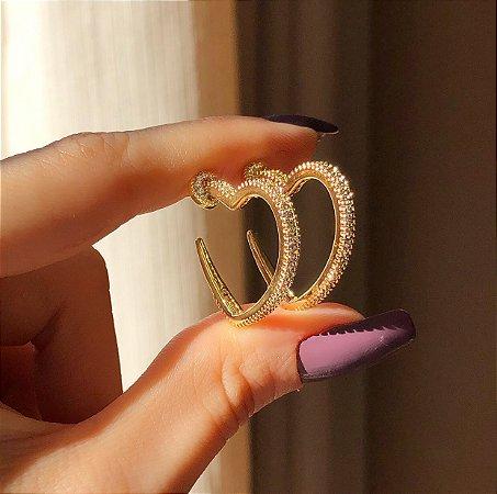 Argola Coração Cravação Mil Zircônias Diamond Dourado
