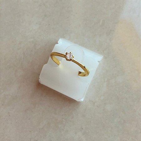 Anel Solitário Pingo de Zircônia Diamond Dourado