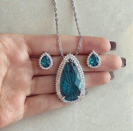 Conjunto Luxuoso Elos Maxi Gota Pedra Raiada Azul Petróleo e Mil Zircônias Ródio Branco