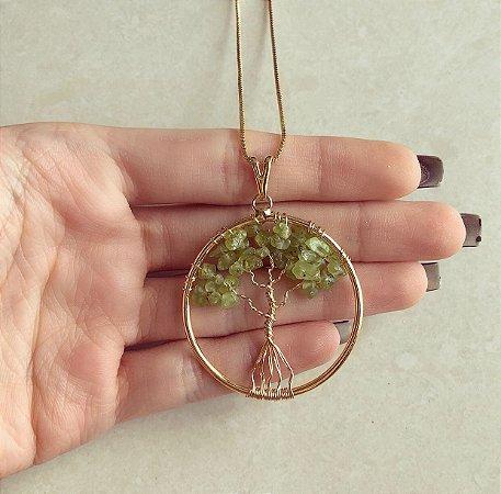 Colar Mandala Árvore da Vida com Pedras Naturais Quartzo Verde Água Dourado