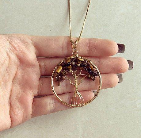 Colar Mandala Árvore da Vida Com Pedras Naturais Olho de Tigre Dourado