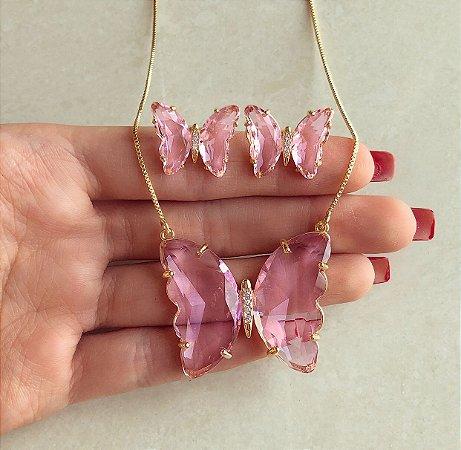 Conjunto Luxuoso Maxi Borboleta Cristal Safira Rosa e Zircônias Diamond Dourado