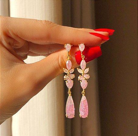 Brinco Santiago Luxo Gotas de Pedra Fusion Safira Rosa Dourado