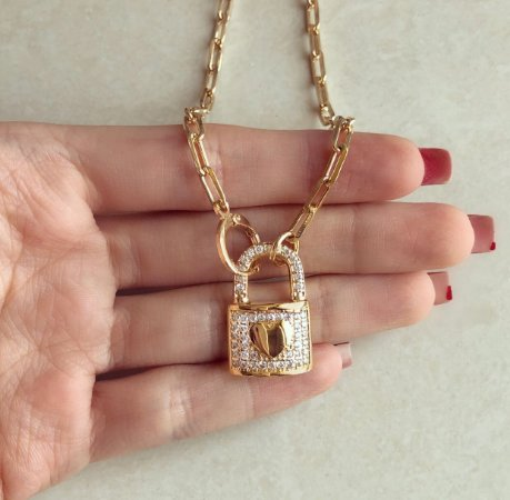 Corrente Luxo Elos Cadeado Mil Zircônias Diamond Dourado