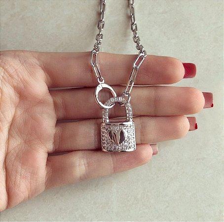 Corrente Luxo Elos Cadeado Mil Zircônias Diamond Ródio Branco