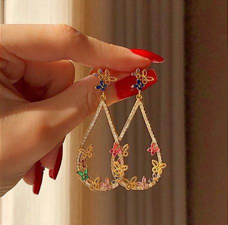 Brinco Charlotte Borboletas com Zircônias Diamond e Colorida Dourado