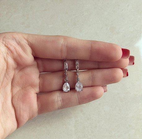 Argolinha Roma Gota de Zircônia Diamond Ródio Branco