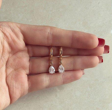 Argolinha Roma Gota de Zircônia Diamond Dourado